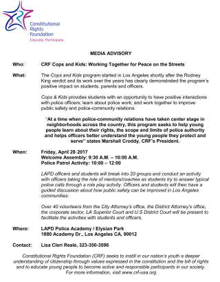 Kids for Cops MEDIA ADVISORY 2017